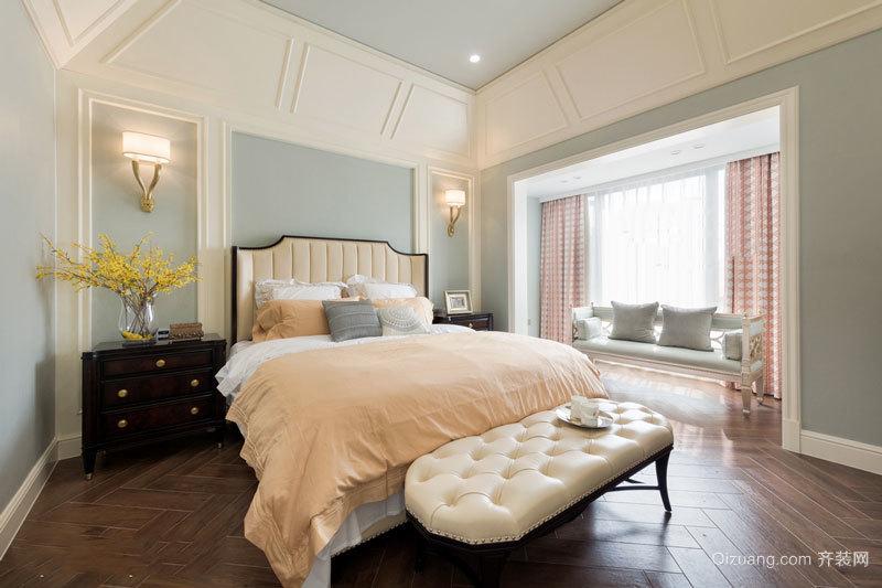 温馨舒适美式风格精致卧室飘窗装修效果图