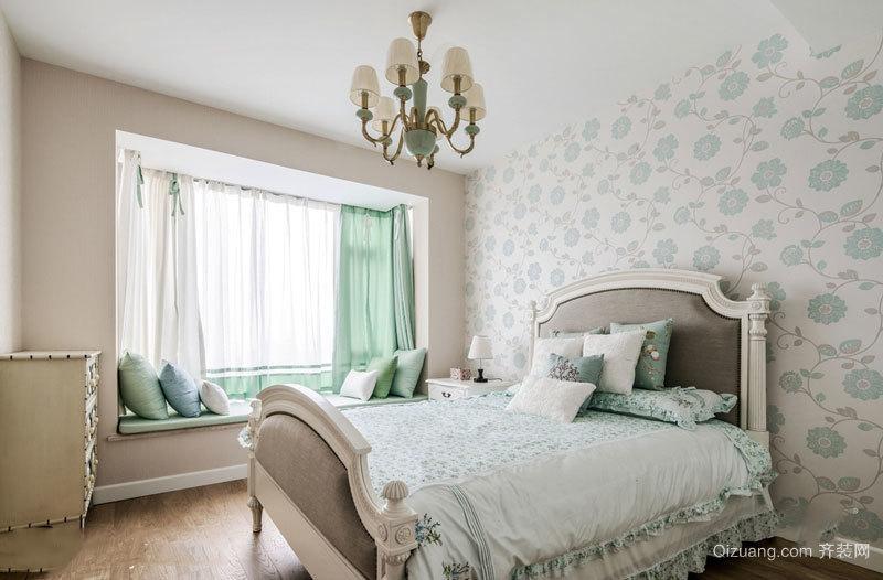 清新典雅欧式风格精美卧室飘窗装修图