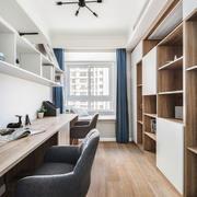 宽敞舒适现代风格书房设计装修效果图