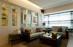97平米简约现代风格小三房装修效果图,客厅家具采用美式风格造型古朴的沙发和精美的装饰画,浅色的窗帘设计,温馨舒适,深色的地毯,温馨。