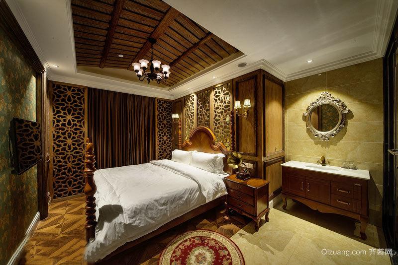复古中式风格典雅酒店客房装修效果图
