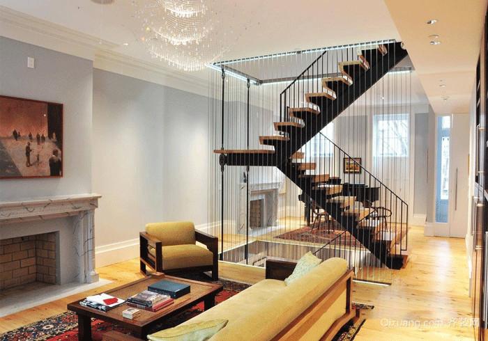 时尚美式风格铁艺楼梯设计装修效果图