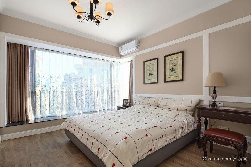 粉色现代美式风格卧室飘窗装修效果图