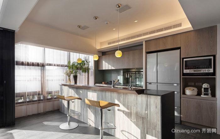 时尚创意现代风格开放式厨房吧台设计装修图