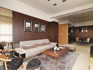 精装现代风格精致三室两厅装修效果图,如果你喜欢中式风格的雅韵但不喜欢中式风格的沉闷,可以尝试这样,简单的深色家具设计,温馨的浅色软装,看起来也非常雅致。