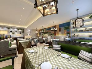 美式风格精致西餐厅设计装修效果图