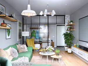 北欧风格简约54平米单身公寓设计装修图