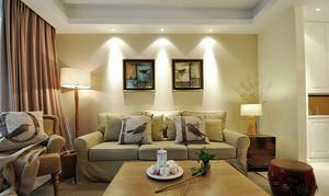 创意精美混搭风格精致两室两厅室内装修效果图,现代风格布艺沙发搭配美式风格座椅,中式风格古典凳子,整个空间看起来和谐温馨。