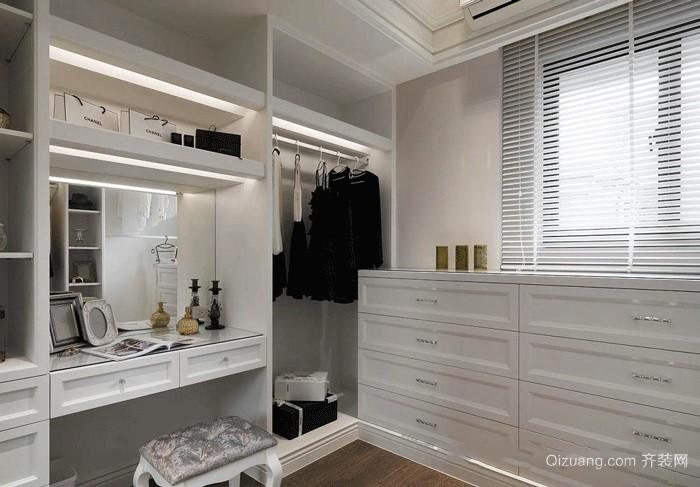 高雅白色欧式风格独立式衣帽间装修图