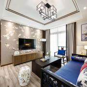 写意温馨中式客厅电视背景墙设计装修图