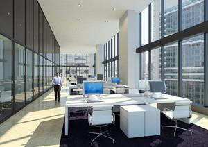 简约现代风格大型办公室装修效果图