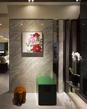 后现代风格时尚90平米室内装修效果图,玄关是一个家的门面设计,也是给人的第一印象,玄关装修采用大理石的瓷砖设计,看起来大气精致,简单的设计就已经很好了。