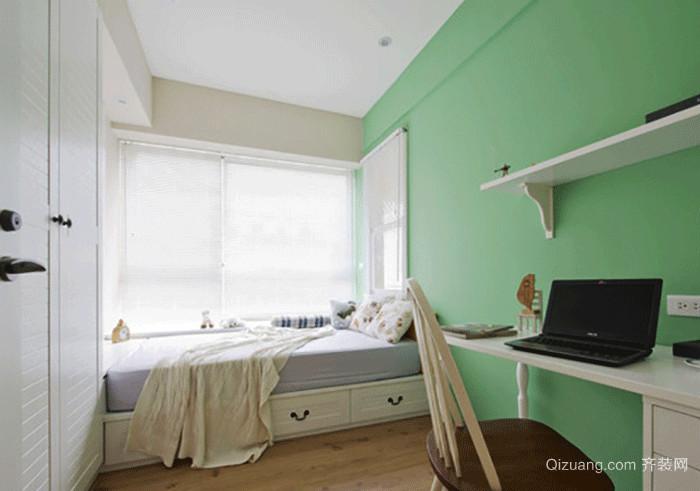 清新薄荷绿榻榻米卧室装修效果图赏析