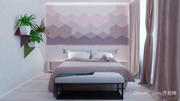简约时尚现代风格卧室背景墙装修效果图