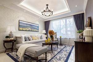 温馨现代美式风格90平米室内装修效果图,现代美式风格家居选择更加简单的设计,浅色的背景墙设计,方形时尚吊顶设计,简单大气。