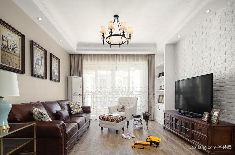 复古精致美式风格客厅装修实景图