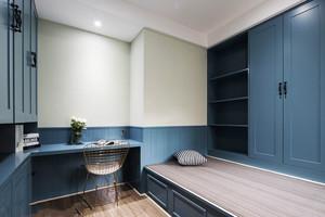 现代美式风格蓝色精致榻榻米书房装修图