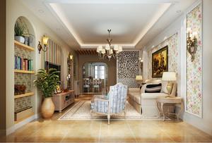 自然田园风格温馨三室两厅室内设计装修图