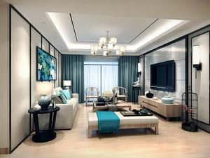 新中式风格精美93平米两室两厅室内装修效果图,新中式风格家居更加简单同时有包含中式韵味,看起来别有一番风味,色彩搭配温馨素雅。