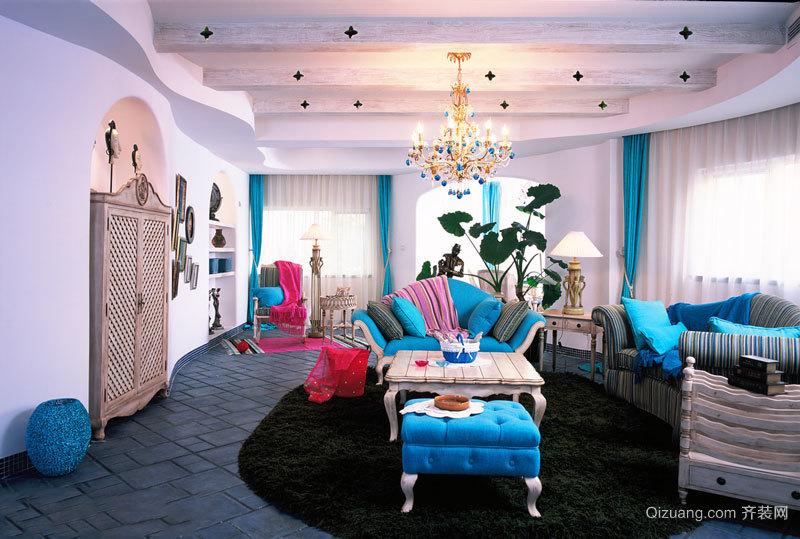 经典时尚地中海风格客厅设计装修效果图