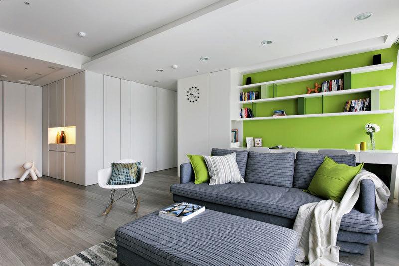现代简约风格绿色清新客厅装修效果图