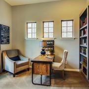 复古精致美式风格书房设计装修效果图