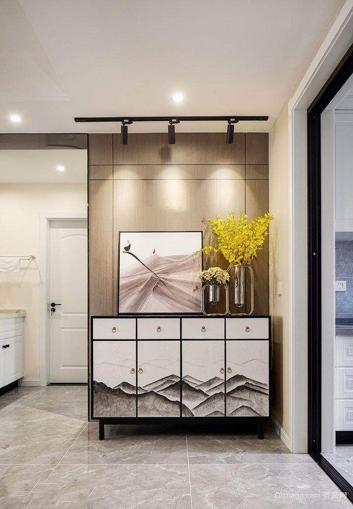 新中式风格素雅玄关柜设计装修图