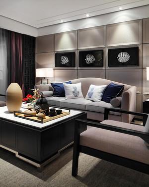 精致典雅中式风格三室两厅室内装修图,客厅是传统与现代居室风格的碰撞,设计师以现代的装饰手法和家具,结合古典中式的装饰元素即古典有时尚。