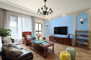 创意混搭风格客厅蓝色电视背景墙装修图