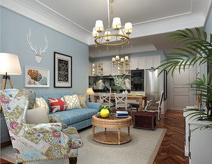 清新舒适欧式田园风格90平米室内装修图