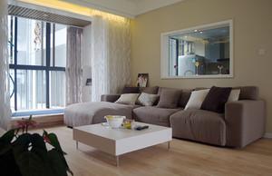 现代简约风格温馨三室两厅一卫装修效果图,客厅装修,延续了黑白灰的主色调,以简洁的造型、完美的细节,营造出时尚前卫的感觉。