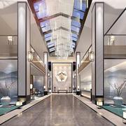 中式风格精美酒店大堂设计装修效果图