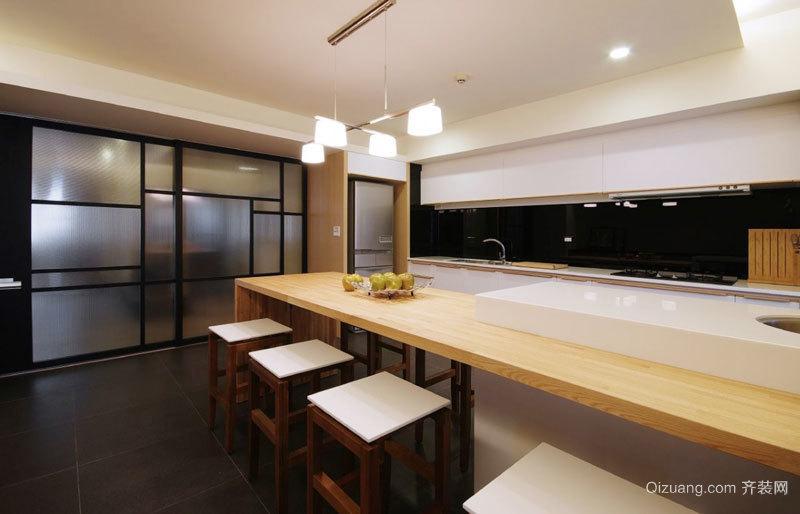 现代风格开放式厨房吧台设计装修效果图
