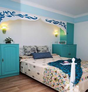 蓝色清新地中海风格儿童房装修实景图