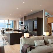 现代风格大理石精致开放式厨房吧台装修图
