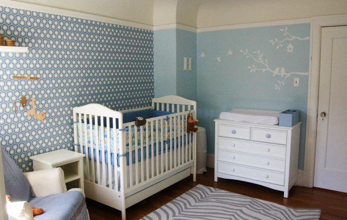 清新蓝色欧式风格婴儿房设计装修图