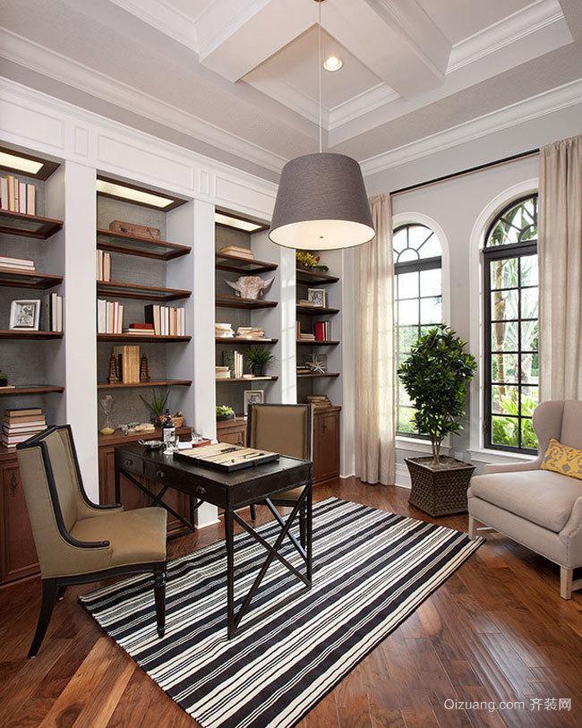经典时尚美式风格书房设计装修效果图