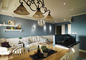 田园风格清新蓝色两室两厅室内装修效果图