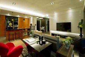 个性时尚现代风格两室两厅室内装修效果图,空间简约,色彩就要跳跃出来。苹果绿、深蓝、大红、纯黄等高纯度色彩大量运用,大胆而灵活,不单是对简约风格的遵循。