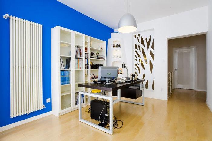 蓝色精美现代风格书房设计装修图