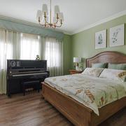 清新绿色田园风格卧室设计装修效果图