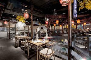 80平米中式风格精致餐厅设计装修效果图