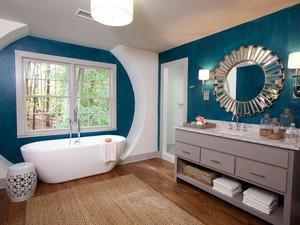 清新蓝色欧式风格别墅卫生间装修效果图