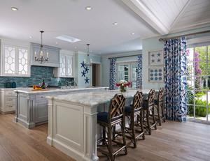 精美地中海风格开放式厨房吧台装修效果图