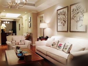 简约美式风格三室两厅一卫室内设计样板房效果图