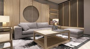 禅意中式风格复式楼室内设计装修效果图,本套设计采用原木色的材质,没有过多的装饰,保留了原始的纹路,看起来禅意素雅,灰色的沙发搭配时尚温馨。