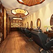 中式风格古典美发店装修效果图