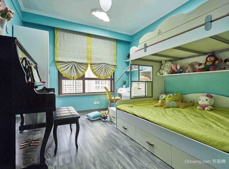 清新舒适蓝色儿童房设计装修效果图