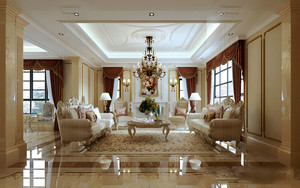 300平米欧式风格奢华别墅室内装修效果图