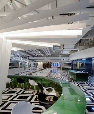 现代风格大型办公室员工餐厅装修效果图